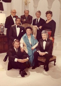 "Group Photo from ""An Evening With..."" 1972 (seated, from left to right):  Buddy Barnes, Mabel Mercer, and Billy Roy; (second row, standing):  Bobby Short; (third row, standing):  George Frazier; Alec Wilder; Bart Howard; and Willa Dean Mustin"