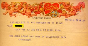 Unsigned Valentines Day Telegram To Cam 02.13.1953