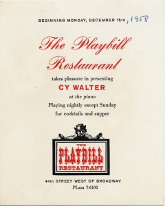 Playbill Restaurant 12.15.1958