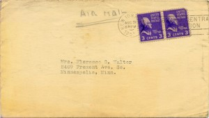 Cy Walter To Florence Greaves Walter 08.30.1951 Envelope Front