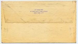 Cy Walter To Florence Greaves Walter 08.30.1951 Envelope Back