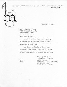 Bayes Music Corporation To Florence Greaves Walter  10.04.1961