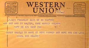 Carl And Helen Kress To Cam and Cy 06.20.1954