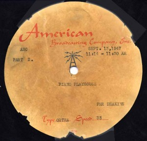 Piano Playhouse 09.13.1947 Transcription Disc Label Side 2
