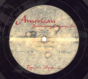 Piano Playhouse 11.19.1950 Transcription Disc Label Side 1