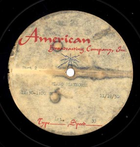Piano Playhouse 11.19.1950 Transcription Disc Label Side 2