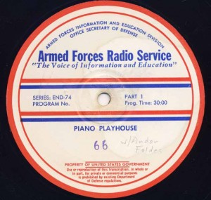 Piano Playhouse AFRS Transcription Disc Program No. 66 Part 1