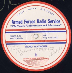 Piano Playhouse AFRS Transcription Disc Program No. 6 Part 1
