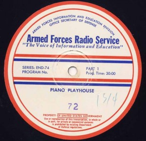 Piano Playhouse AFRS Transcription Disc Program No. 72 Part 1