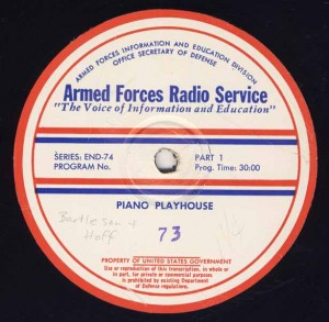 Piano Playhouse AFRS Transcription Disc Program No. 73 Part 1