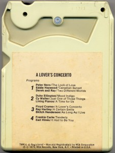A Lovers' Concerto 8-Track Tape Back Cover