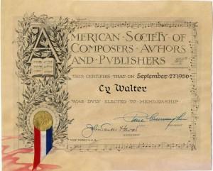 ASCAP Cy Walter Membership Certificate 09.27.1956
