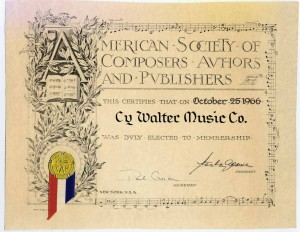ASCAP Cy Walter Music Co. Membership Certificate 10.25.1966