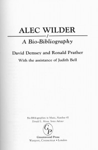 Alec Wilder A Bio-Bibliography Title Page