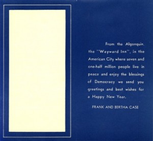 Algonquin Hotel Frank And Bertha Case 1940 New Years Card Inner Text