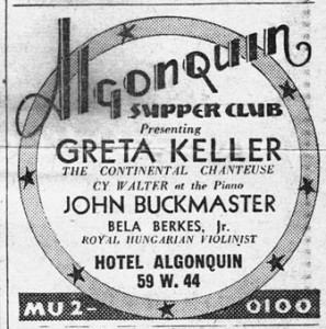 Algonquin Supper Club Advertisement Cy And Greta 1939 To 1940