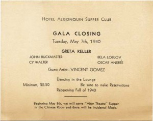 Algonquin Supper Club Closing Announcement Card 05.07.1940 Cover Page