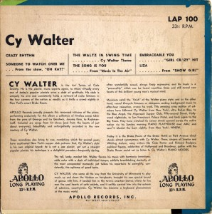Cy Walter At The Drake Room Piano Apollo LP Back Cover