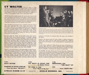 Cy Walter At The Drake Room Piano Apollo 78rpm Liner Notes