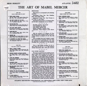 The Art of Mabel Mercer LP Back Cover
