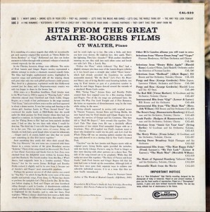 Hits From The Great Astaire-Rogers Films LP Back Cover