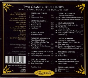 Two Grands Four Hands Spectacular And Rare Novelty Piano Duos Of The 1920s And 1930s CD Back Cover