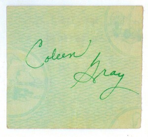 Coleen Gray's Autograph