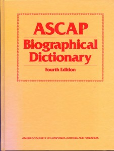 ASCAP Biographical Dictionary Cover