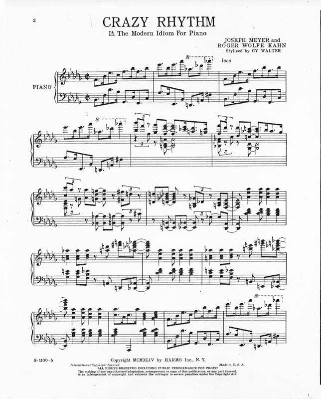 All Music Chords crazy sheet music : Crazy Rhythm | Cy Walter