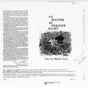 Cy Walter At Peacock Alley Unreleased Album Cover Proof 10.30.1958