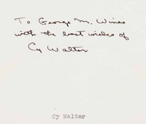 Cy Walter George M. Wines Note Undated