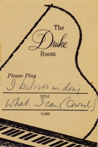 Drake Room 1966 Please Play Requested Song Card No. 1