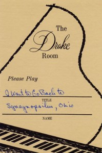 Drake Room 1966 Please Play Requested Song Card No. 2