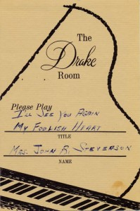 Drake Room 1966 Please Play Requested Song Card No. 3