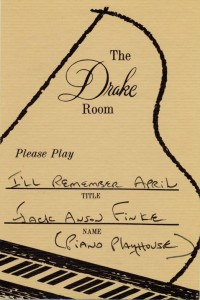 Drake Room 1966 Please Play Requested Song Card No. 5
