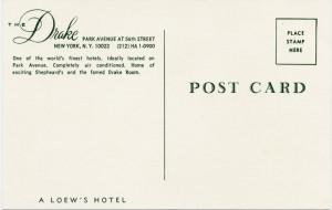 Drake Hotel Postcard 1965 Back