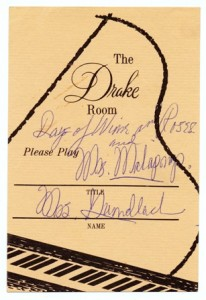 Drake Room Please Play Requested Song Card Undated