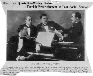 Elks' Own Quartette Raymond B. Walter Article And Photo