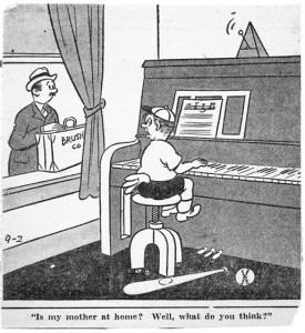 Cartoon of Boy Practicing Piano, Found In Flossie's Files