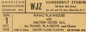 ABC Piano Playhouse Radio Show Ticket 10.01.1950 Front