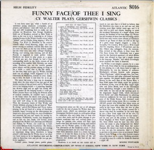Funny Face Of Thee I Sing Cy Walter Plays Gershwin Classics LP Back Cover
