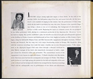 Songs By Greta Keller 78rpm Liner Notes