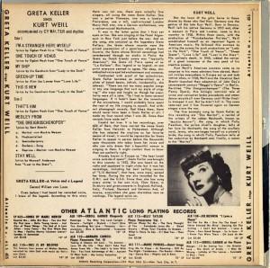 Greta Keller Sings Kurt Weill Back Cover