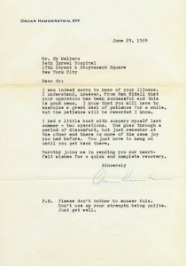 Oscar Hammerstein II To Cy Walter 06.29.1959
