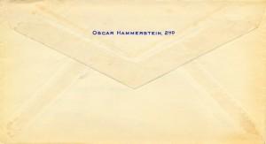 Oscar Hammerstein II To Cy Walter 06.29.1959 Envelope Back