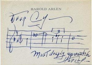 Harold Arlen To Cy Most Deeply Appreciative Note March 1965