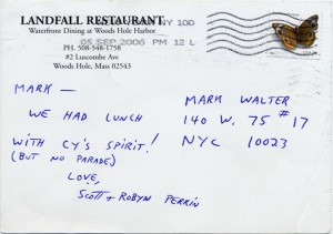 Landfall Restaurant Woods Hole Massachusetts Scott and Robyn Perrin Postcard 09.05.2006 Back