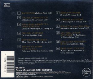 Night In Manhattan Lee Wiley CD Back Cover