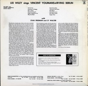 Lee Wiley Sings Vincent Youmans And Irving Berlin LP Back Cover