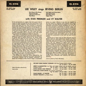 Lee Wiley Sings Irving Berlin Back Cover